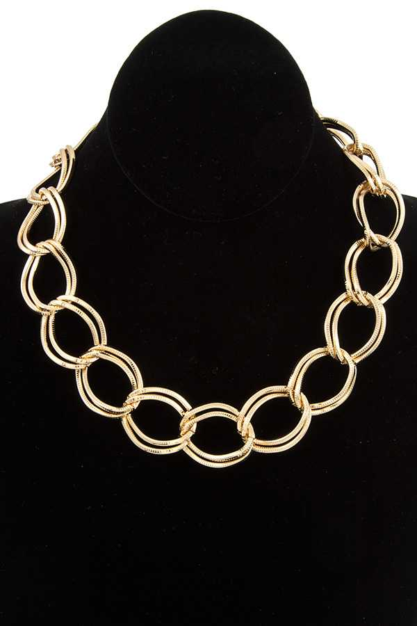 Double Chain Collar Necklace