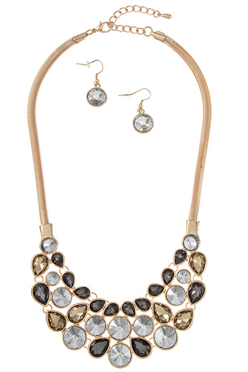 Clustered Crystal Gem Pear and Round Accent Shape Bib Necklace S