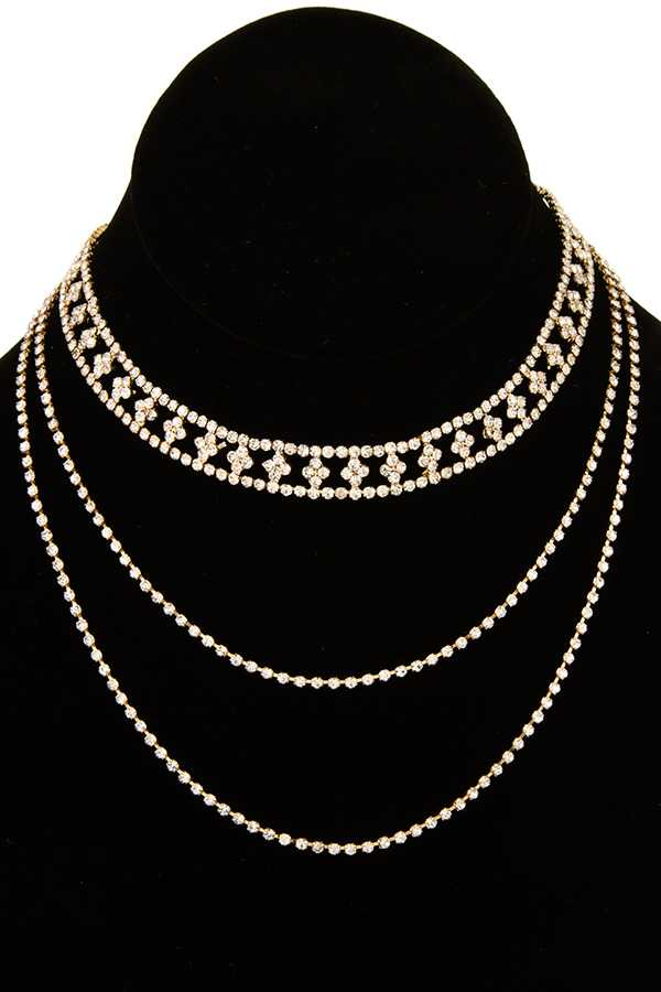 Detachable Rhinestone Choker Layered Necklace