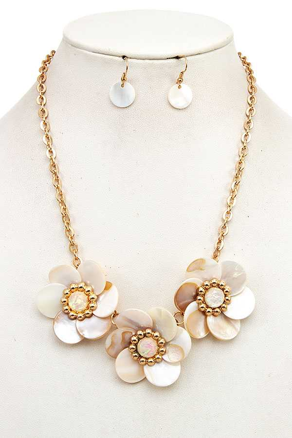 FLORAL STONE LINK NECKLACE SET