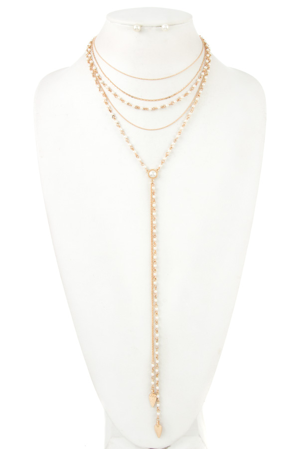 MULTI STRAND PEARL ACCENT NECKLACE SET