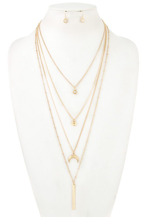 BEAD STATION MULTI CHAIN LAYERED NECKLACE SET