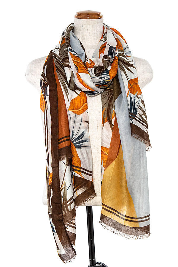 MIX LEAF PATTERN OBLONG SCARF