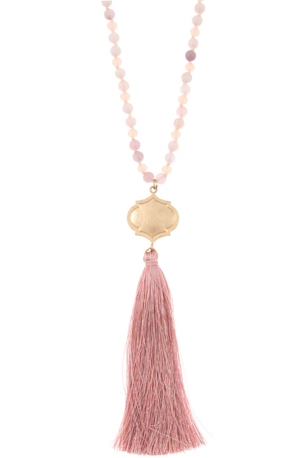 ELONGATED BEAD TASSEL PENDANT NECKLACE SET