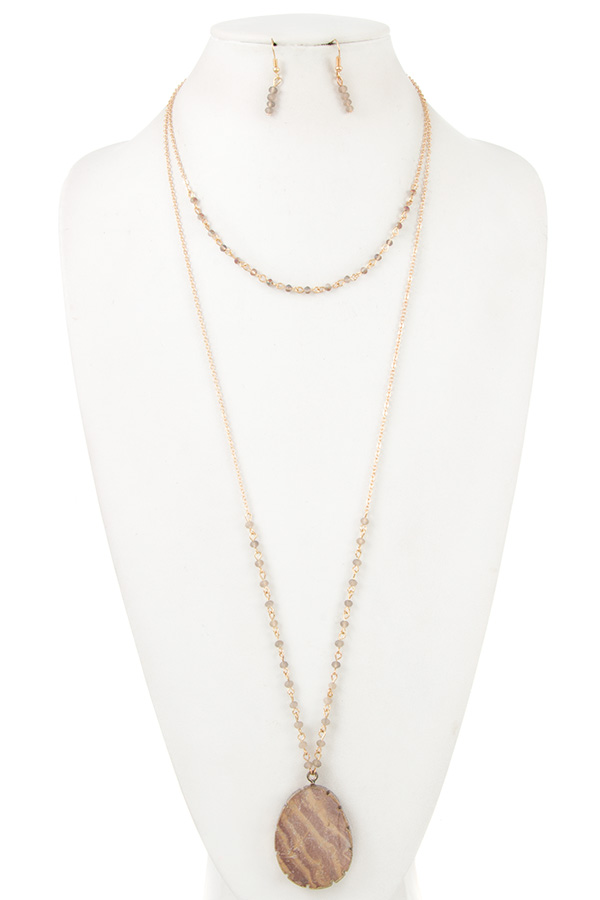 NATURAL STONE LAYERED BEAD NECKLACE SET