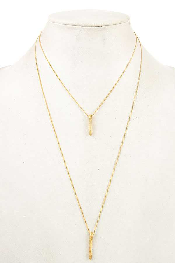 TWIG BAR PEDANT LAYERED NECKLACE