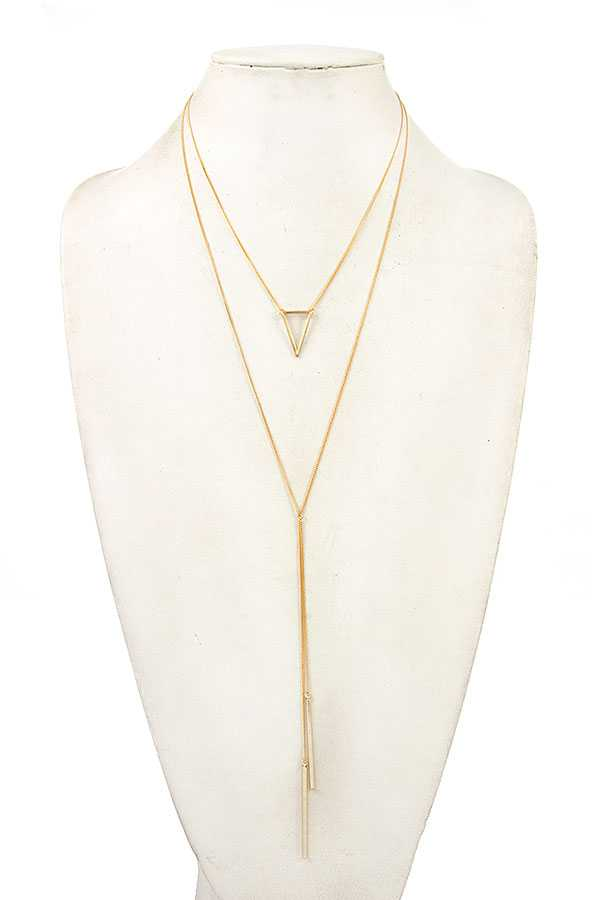 TRIANGLE PENDANT LAYERED NECKLACE