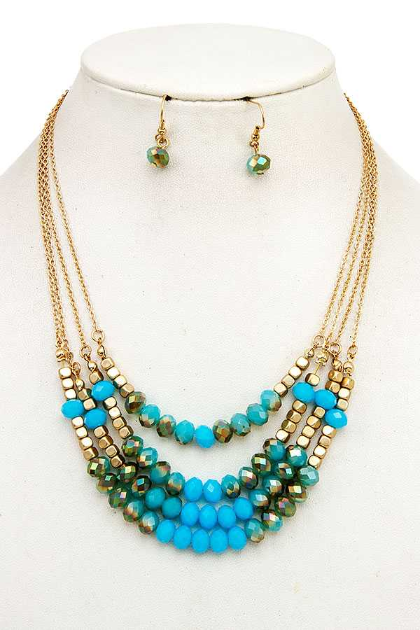 GLASS BEAD LAYERED NECKLACE SET