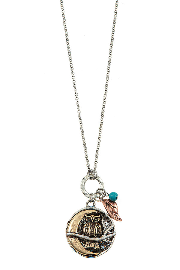 OWL ACCENT PENDANT LONG NECKLACE SET
