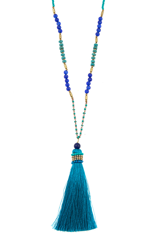 ELONGATED BEAD TASSEL PENDANT NECKLACE
