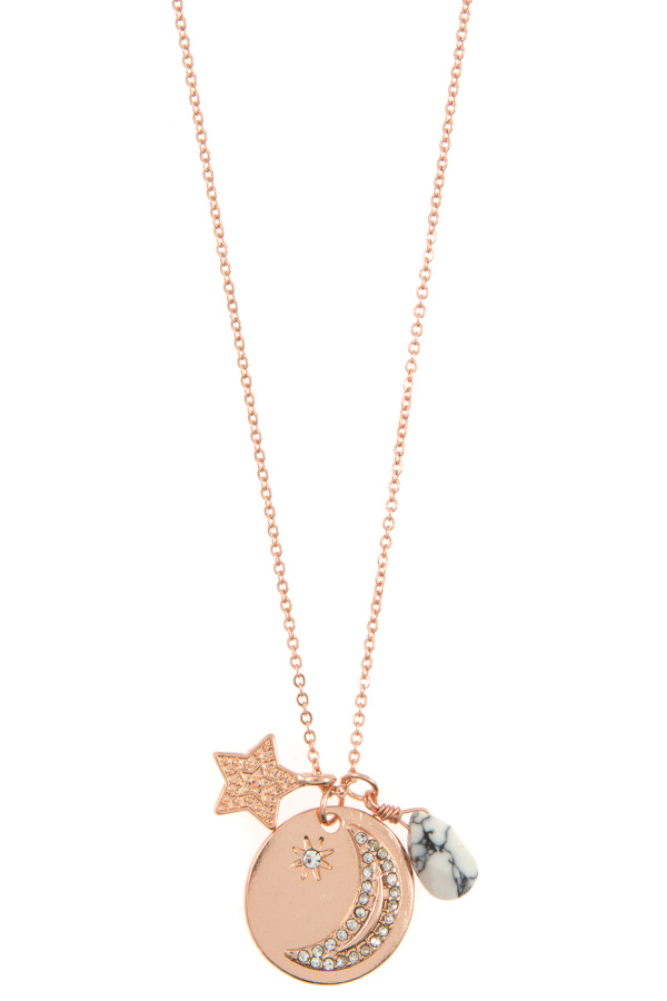 RHINESTONE MOON PAVE DISK PENDANT NECKLACE