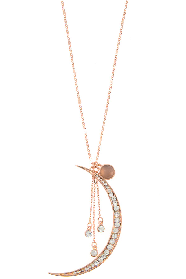 RHINESTONE CRESCENT PENDANT ELONGATED NECKLACE