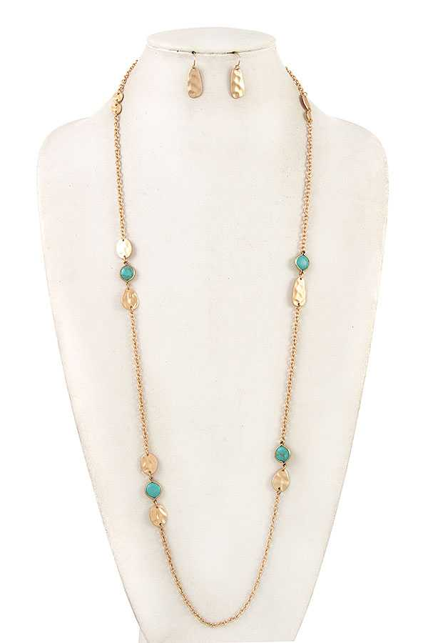 ELONGATED HAMMERED METAL STONE LONG NECKLACE SET