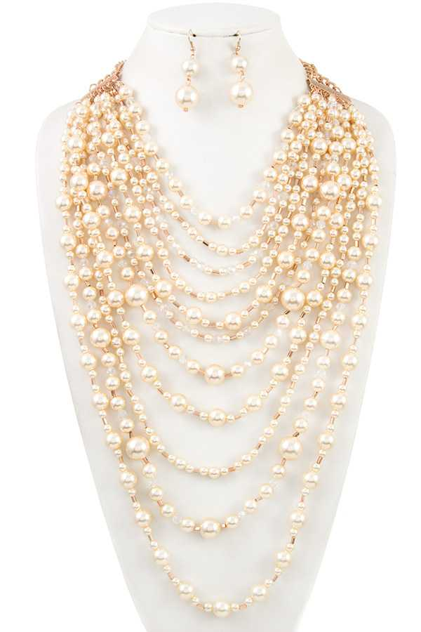 Faux Pearl Layered Statement Necklace Set