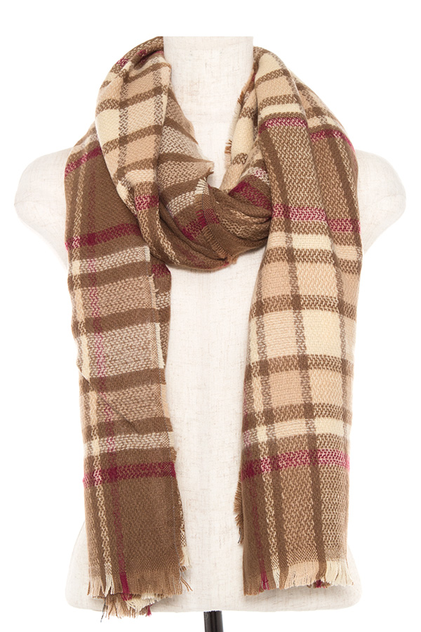 PLAID PATTERN OBLONG SCARF