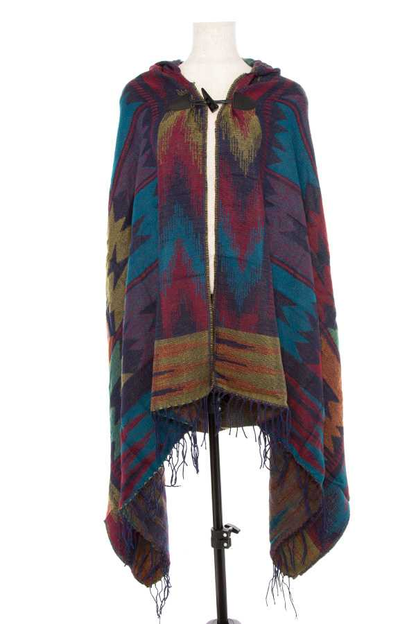 NAVAJO PRINT TOGGLE HOODED CAPE WITH TASSEL