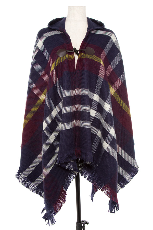 Plaid Pattern Fringe Edge Blanket Hooded Cape