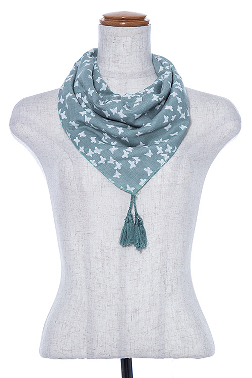 Butterfly Print Square Scarf with Tassel
