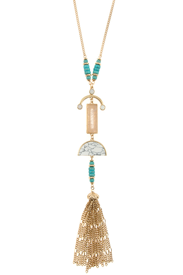 MIX GEM PENDANT CHAIN TASSEL PENDANT NECKLACE