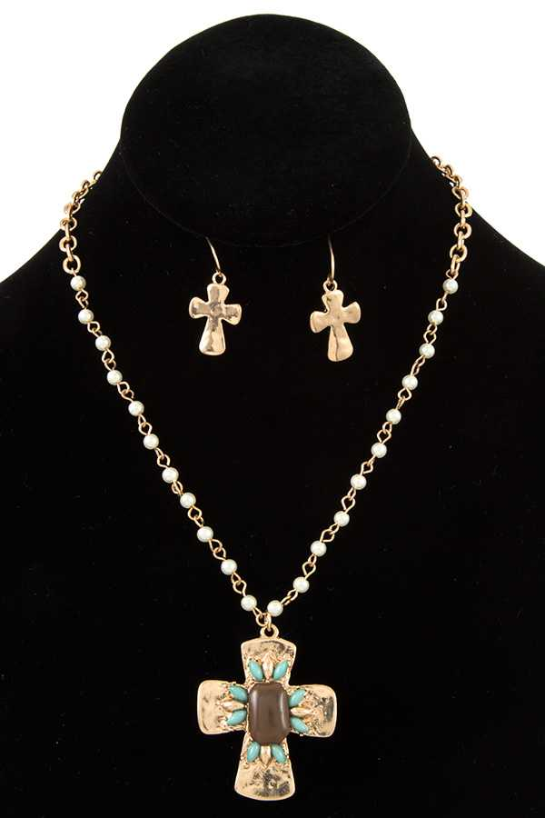 Beads with Cross Pendant Necklace Set