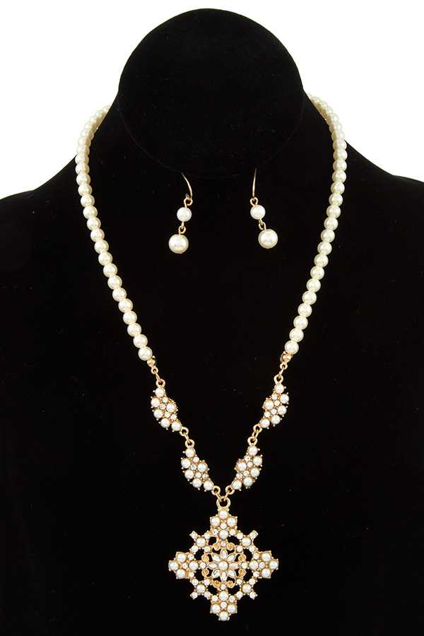 PEARL ORNATE PENDANT NECKLACE SET