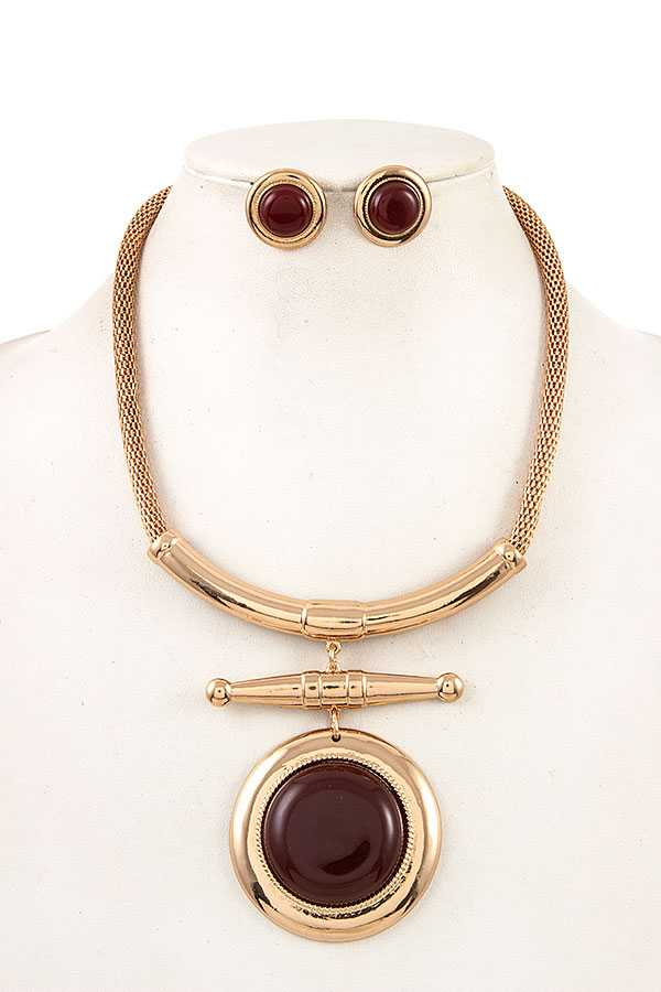 CIRCLE PENDANT CURVED METAL CHAIN NECKLACE SET