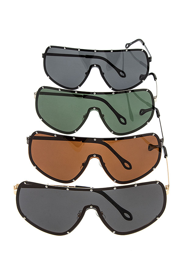 OVERSIZED STUD ACCENT SHIEL SUNGLASSES