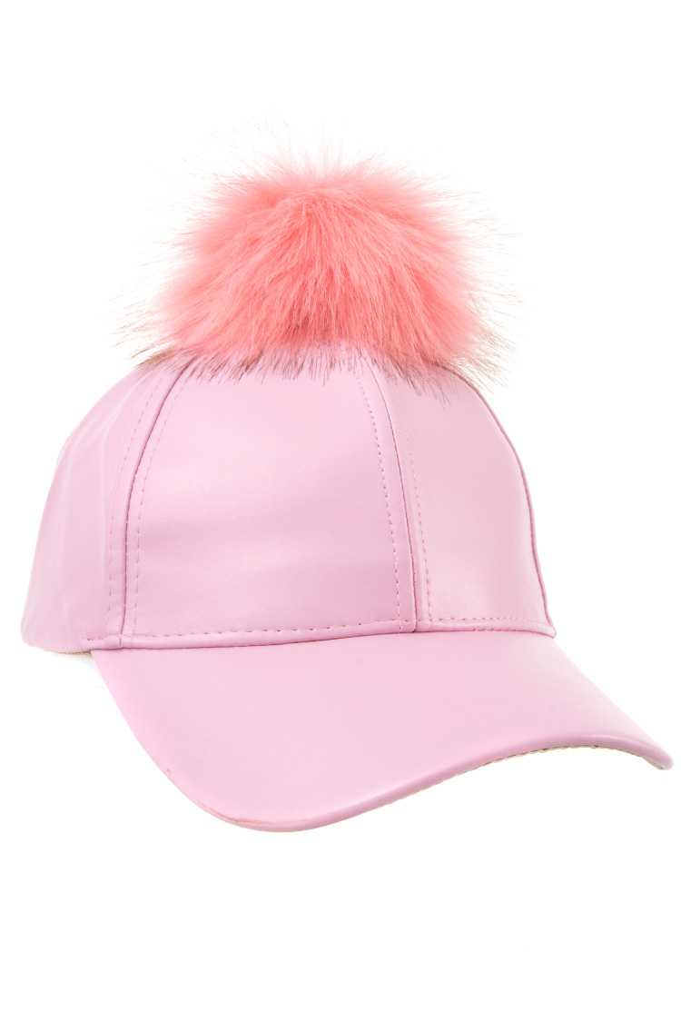 Faux Leather Pom Pom Baseball Cap
