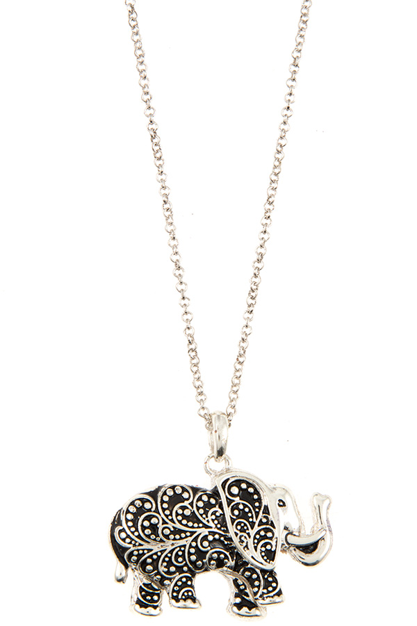ETCHED ELEPHANT PENDANT NECKLACE SET