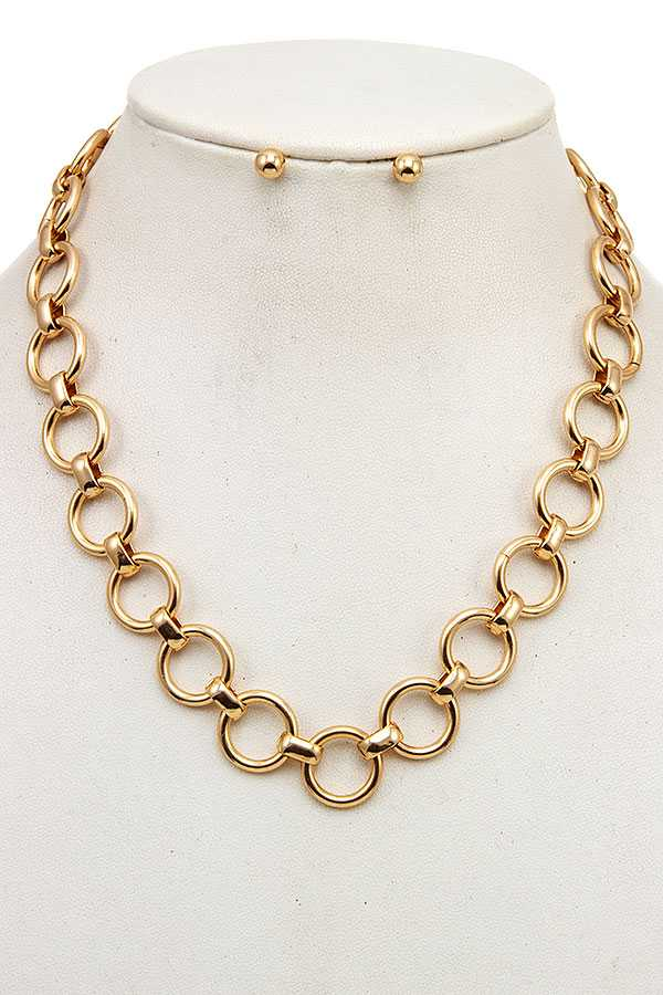 CIRCLE LINK CHAIN NECKLACE SET