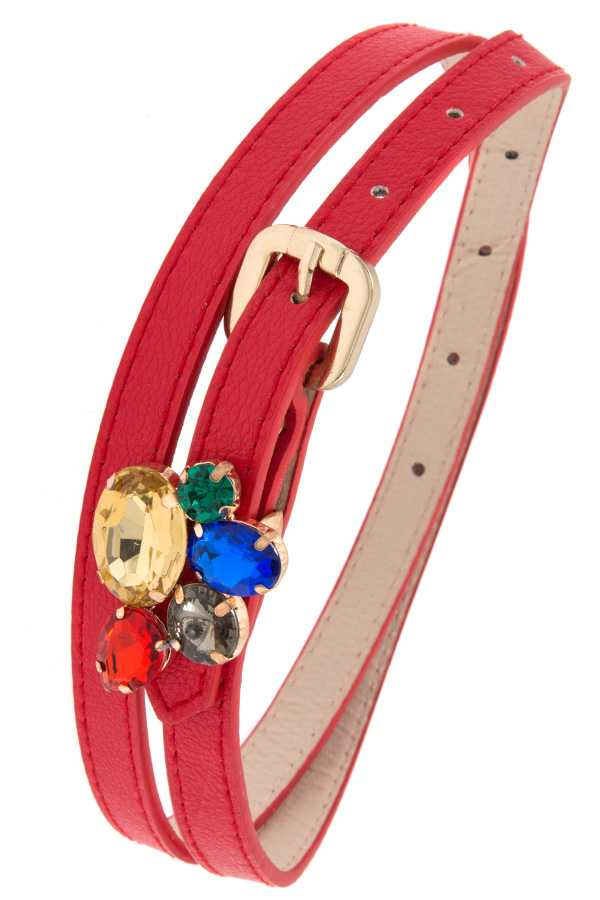 Clustered Faceted Gems Leather Belt