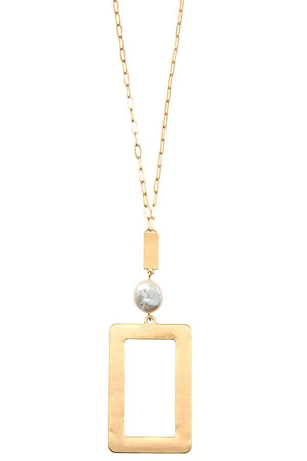 FRESHWATER PEARL RECTANGLE PENDANT LONG NECKLACE SET