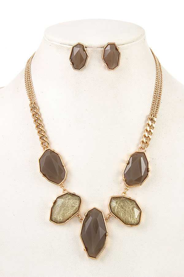 FACETED MIX FRAMED STONE NECKLACE SET