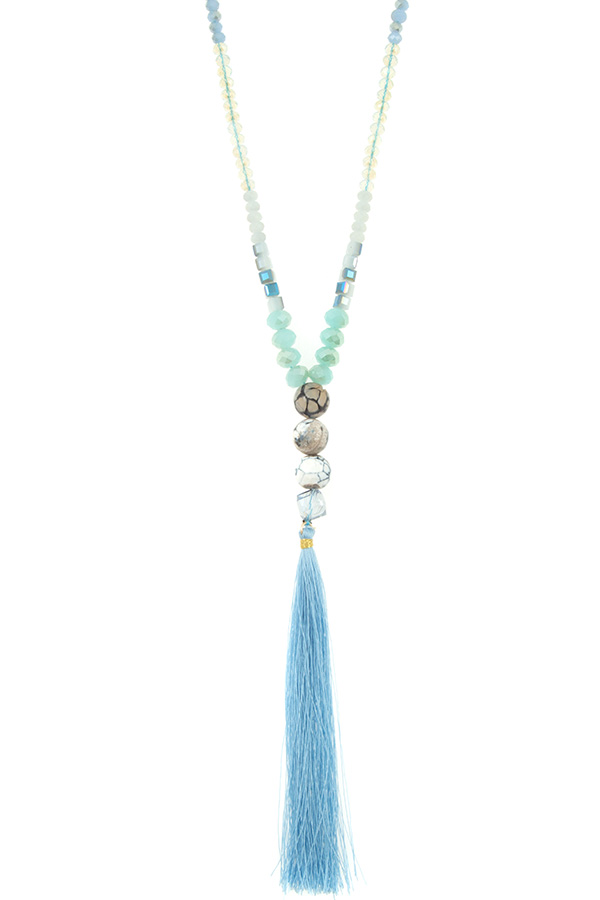 Faceted Mix Jeweled Bead Tassel Pendant Necklace