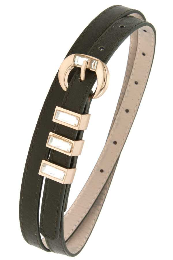 TRIPLE GEM ACCENT FAUX LEATHER BELT