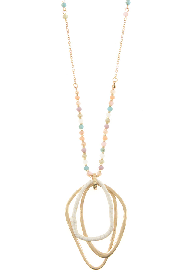 ELONGATED GLASS BEAD MULTI WAVED PEDNANT NECKLACE SET