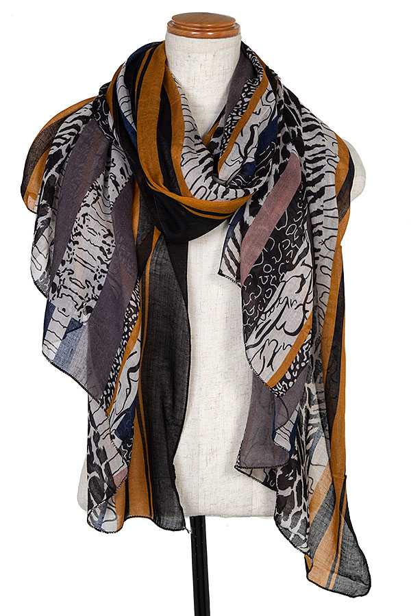 MIX PATTERN LINE ACCENT OBLONG SCARF
