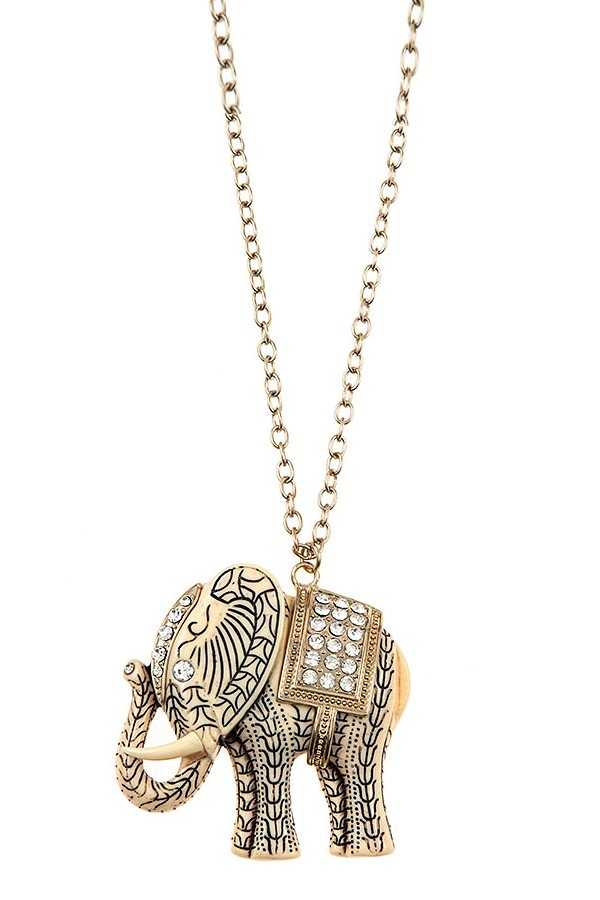 ETCHED ELEPHANT PENDANT LONG NECKLACE SET