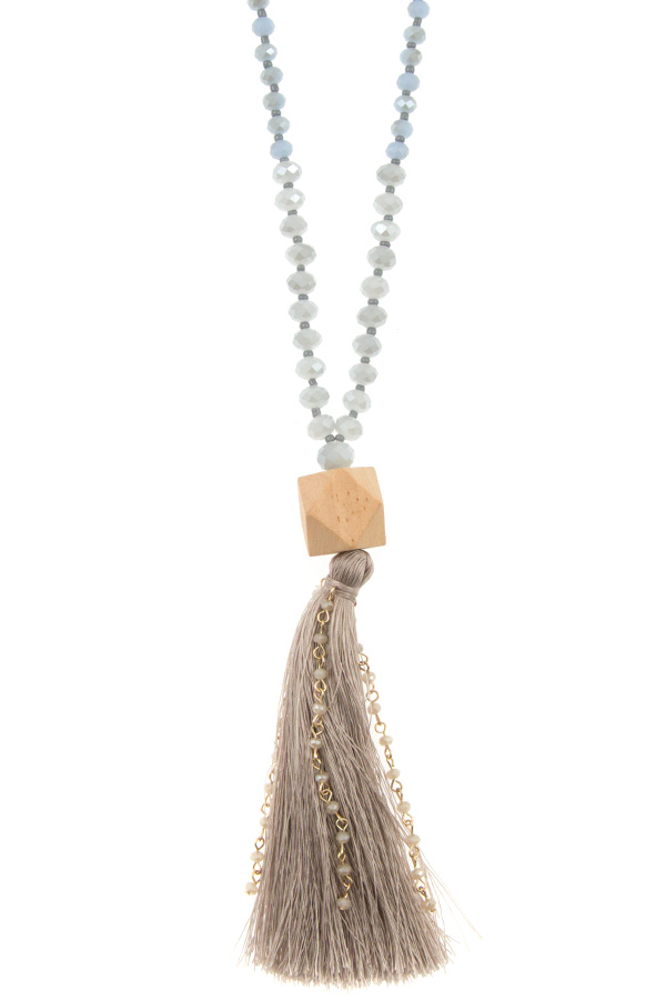 FACETED GLASS BEAD TASSEL PENDANT NECKLACE
