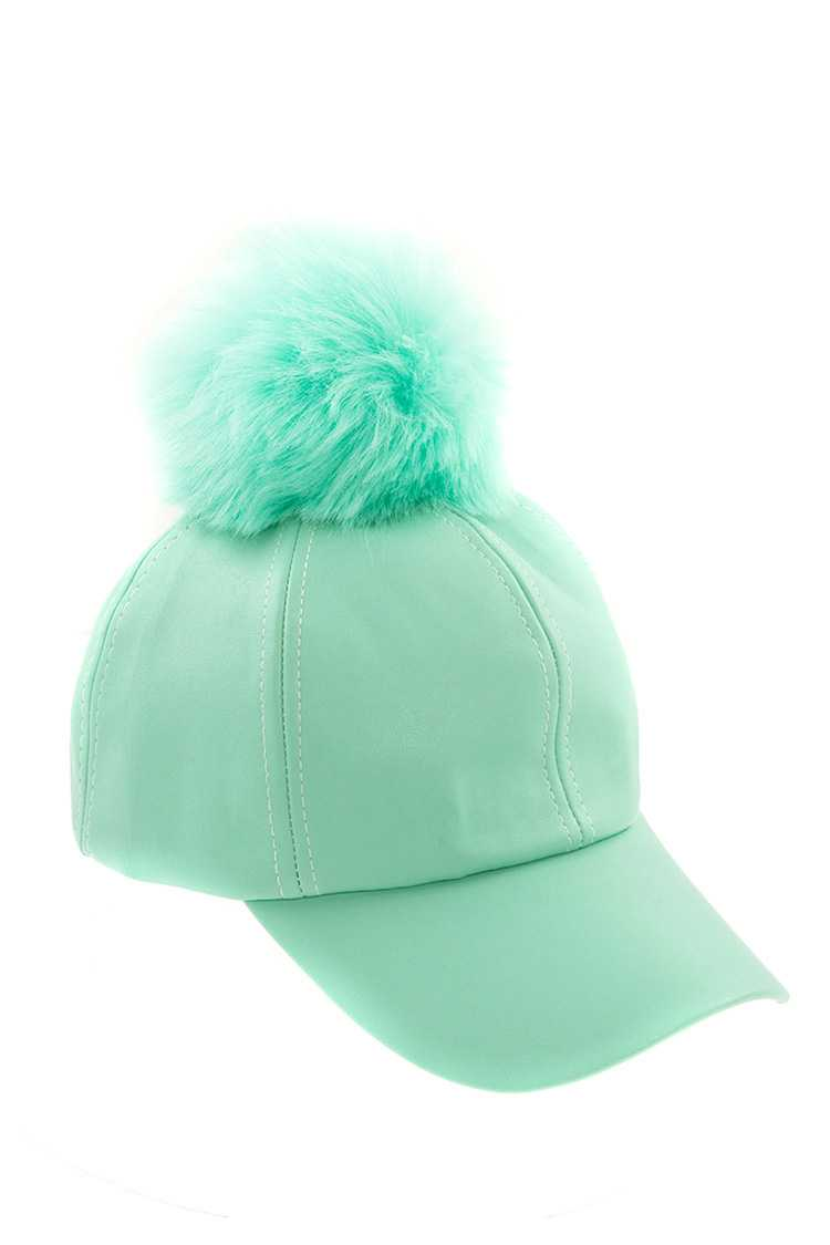 b2a09d77b Faux Leather Pom Pom Top Accent Hat