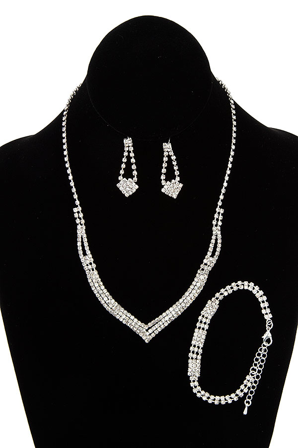 ALIGNED RHINESTONE NECKLACE SET WITH BRACELET