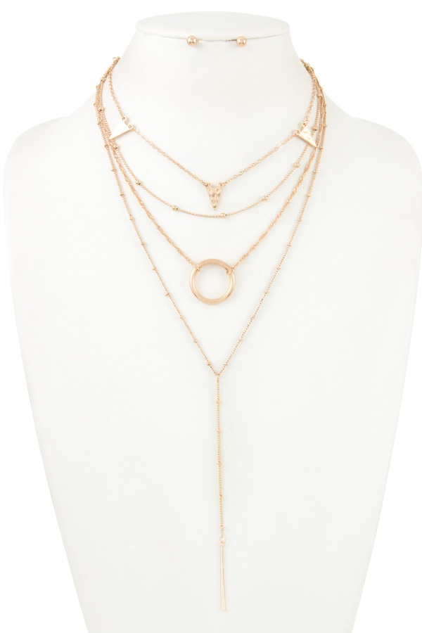 TRIANGLE LINK RING MULTI CHAIN LAYERED NECKLACE SET
