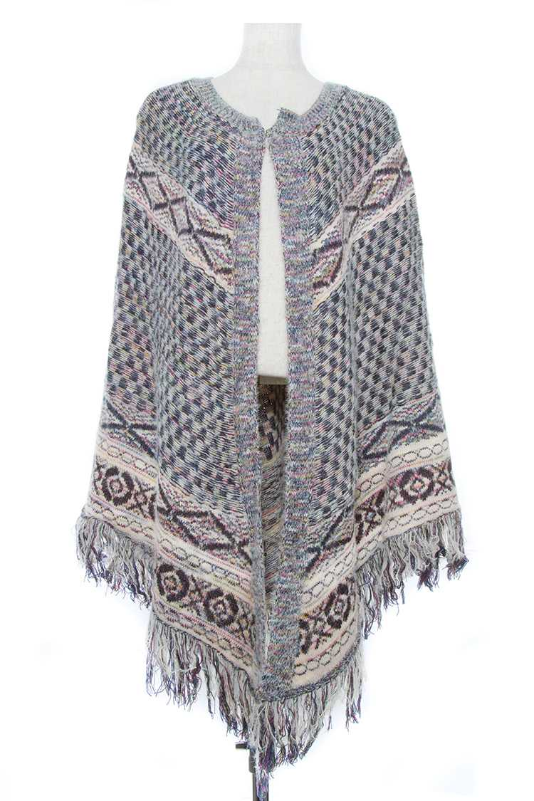 Multi Color Knit Tribal Pattern Fringe End Cape