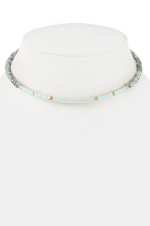 Faceted Glass Bead Choker Necklace