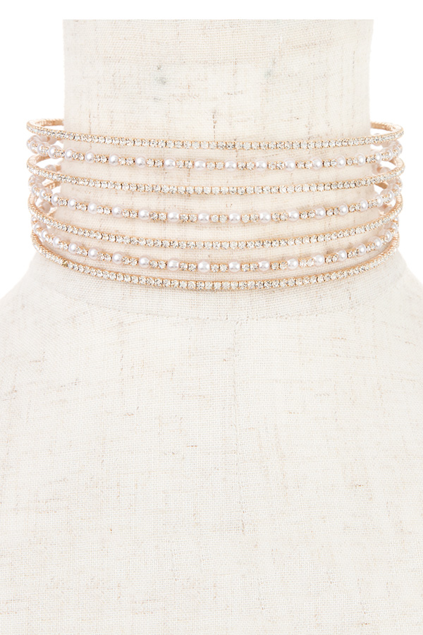RHINESTONE AND PEARL PAVE CHOKER NECKLACE
