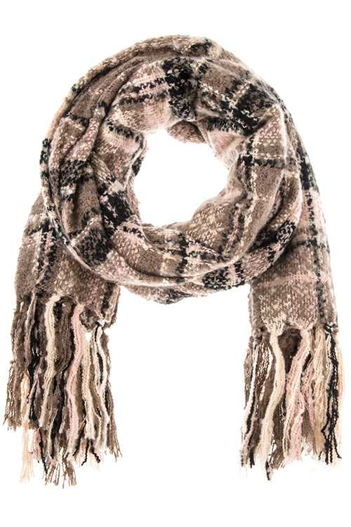 Plaid Pattern Oblong Fringe Scarf