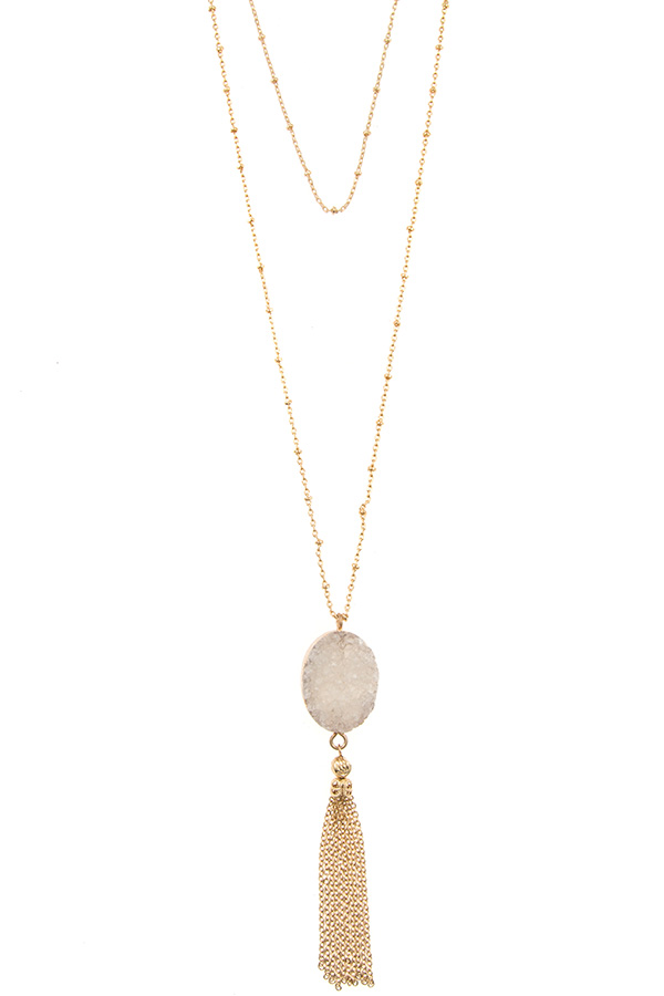 Druzy Stone Chain Tassel Pendant Bead Station Layered Necklace