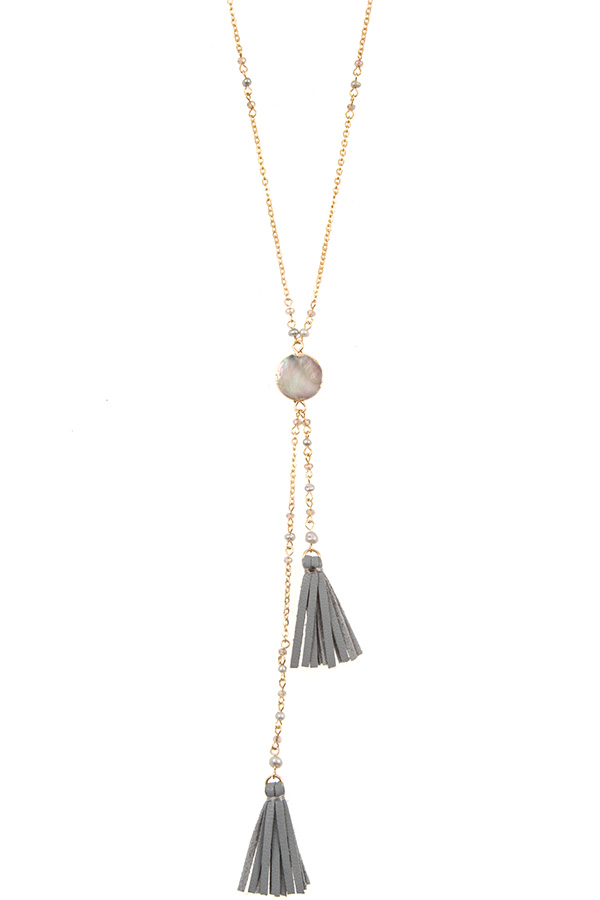 Round Abalone Pendant Double Tassel Necklace