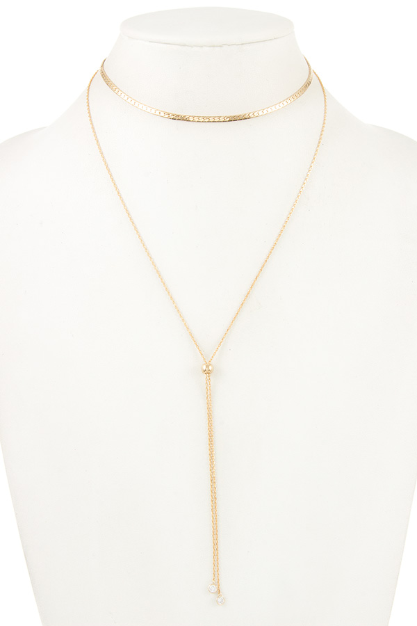 SNAKE CHAIN BEAD CHOKER NECKLACE
