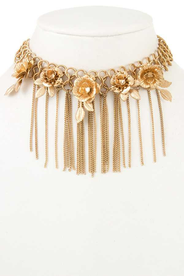 ROSE ACCENT FRINGE CHAIN CHOKER NECKLACE